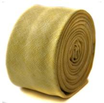 Frederick Thomas mens skinny linen tie in lemon yellow FT1679