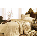 Riho 4-Piece Custom-made 100% Mulberry Silk 19MM Floral Bedding Sets(Gol... - $449.99+