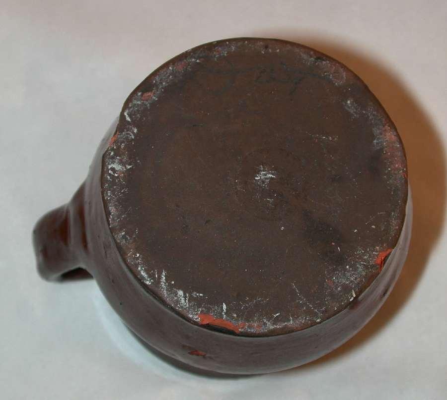 Antique Redware Creamer Lead Glaze Brown Colored w/ Impressed Flowers Schofield