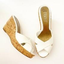 Franco Sarto Grant Leather White Wedge Sandals Women's US Size 7 - $24.30