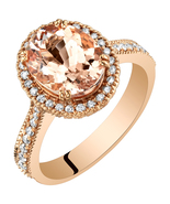 14K Rose Gold 3.09 Carat Oval Shape Morganite Ring - $1,269.99