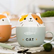 LanBeiJia Lovely breakfast Cat fish coffee Bear Ceramic mug - $35.95