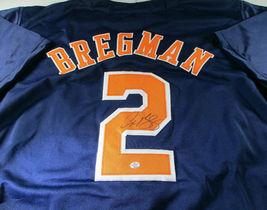 ALEX BREGMAN / AUTOGRAPHED HOUSTON TEXANS BLUE CUSTOM BASEBALL JERSEY / COA image 1