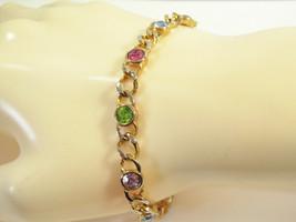 PASTEL Rhinestones BEZEL Set Curb Link Chain Bracelet Pinks Green Blue V... - $12.38