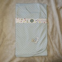 Little Me 100% Cotton TAG-ALONG Blanket Nwt Blue Teddy Bear Cloud Brown Star - $29.69
