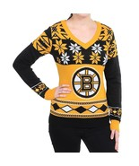 NHL Womens Big Logo V-Neck Nordic Snowflake Ugly Sweater Boston Bruins S... - $53.99