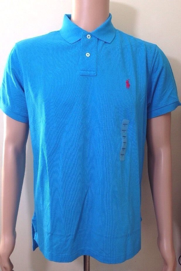 Ralph Lauren da Uomo Blu Polo Maglietta su Misura Taglia Large