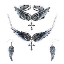 Women's Angel Wing Cross Necklace Earrings Bracelet Set image 2