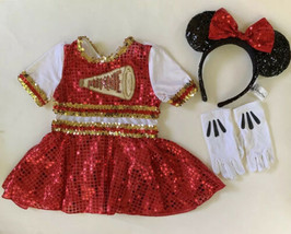 Minnie Mouse Disney Store Cheer Costume & Ears Gloves Sequins Red Black XS 4-5 - $24.74