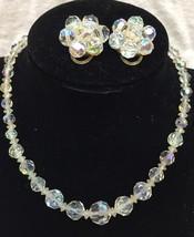 Vintage Aurora Borealis Crystal Bead Necklace Choker Matching Clip On Ea... - €15,30 EUR