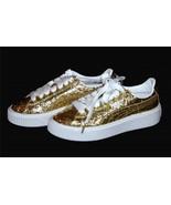 Puma Basket Gold Glitter Specks Clear Overcoat Platform Sneakers Wms 6.5 - $89.99
