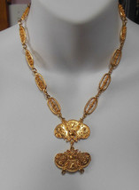 Vintage Signed Accessocraft nyc Gold-tone Filigree Statement Necklace - $44.55