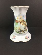 Hatpin Holder Kitten Butterfly Fine Porcelain Fileder Keepsakes  - $18.66