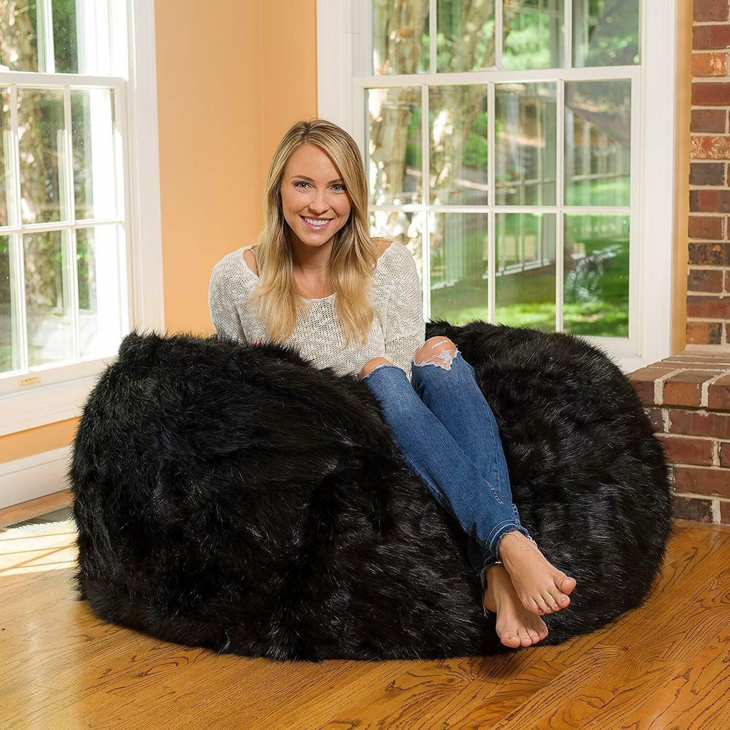 Leather Fur U and I Design Bean Bag and Cover, XXXL/9mm (Black) Free Shipping