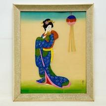 Vintage Chinese Japanese Geisha Women Art Hand Painting on Fabric Signed... - $39.59