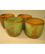 [Y8] Lot of 4 1940's FRANKOMA Coffee Mugs, Cup ADA CLAY Prairie Green with #5 - £76.60 GBP
