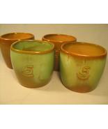 [Y8] Lot of 4 1940's FRANKOMA Coffee Mugs, Cup ADA CLAY Prairie Green wi... - $112.80