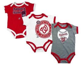 Infant Washington Nationals Bases Loaded Creeper Set 3-pc Baby Baseball Bodysuit