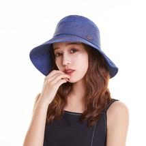 Blue Summer Bucket Women Panama Cap Wide Brim Lady Sun Hat Female Bucket... - $46.46