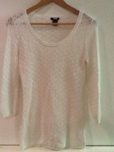 Ann Taylor White Crochet Open Knit Tunic 3/4 Sleeve Sweater Blouse Size ... - €10,91 EUR
