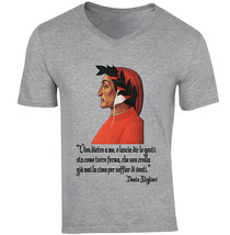 Dante Alighieri Versetto - New Cotton Grey V-NECK Tshirt - $18.93