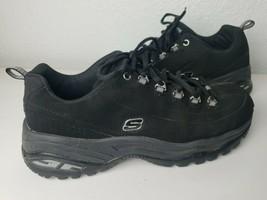 Skechers Womens Sport Premium Black Leather Athletic Walking Sneakers Sh... - $37.04