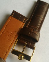 18mm vintage brown omega watch band bracelet strap watch gold plated buckle - $39.90