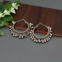 Indian Silver Oxidized Afghani Gypsy Bohemian New Fashion Jewelry Hoop E... - $9.99