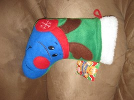 "Christmas Stocking W Reindeer Brand New Plush Nwt Stuffed Animal 12"" Sugar Loaf - $7.99"