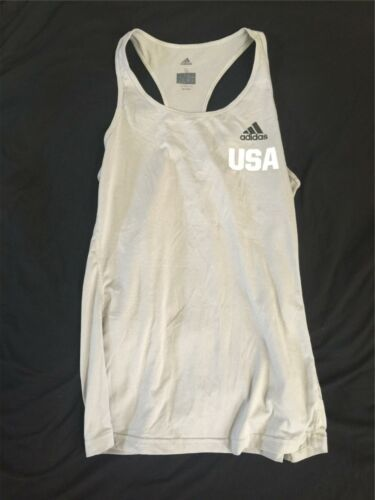 Adidas USA Women Ladies Tennis Tank Top Gray Climalite Small Running Yoga A