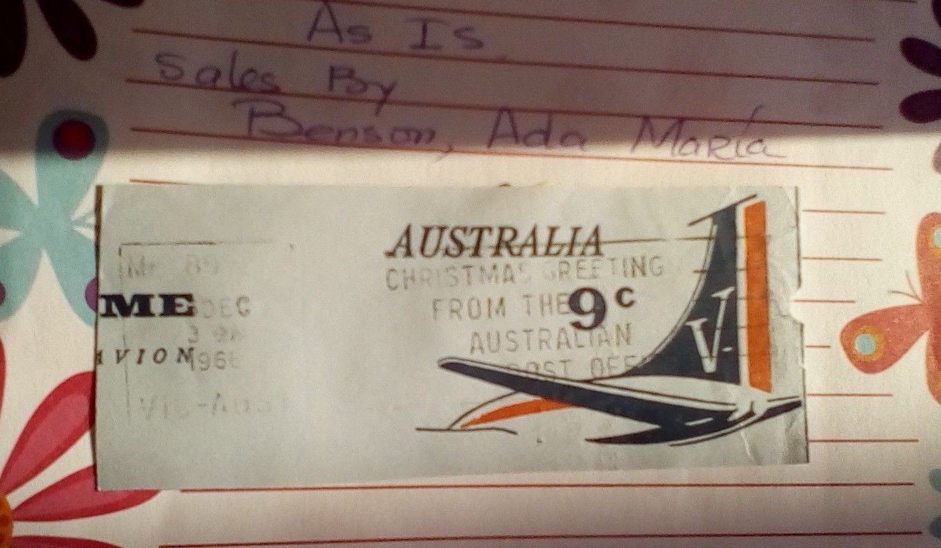 1966----9C-AUSTRALIA AIR MAIL-CHRISTMAS GREETINGS CANCELLATION  PARTIAL ENVELOPE image 2