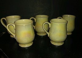 Vintage Set of (5) 1976 FITZ & FLOYD Footed Mugs/Cups Pearlescent Grey C... - $6.44