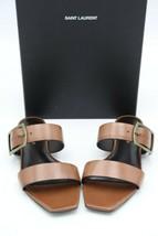 NIB Yves Saint Laurent Oak Nu Pieds Open Toe Brown Leather Sandals 7 37 ... - $325.00