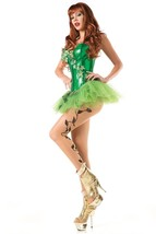 Be Wicked Sexy Poison Ivy Costume Corset Tutu Skirt w/Leaves Crystals Gl... - $49.99
