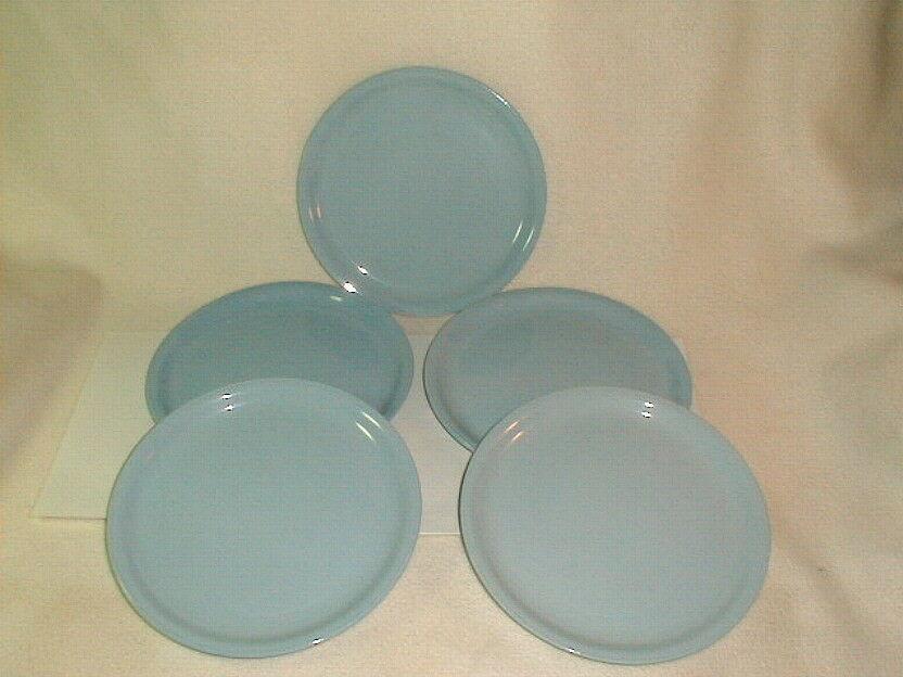 "Mid century homer laughlin skytone 9"" plates 5 pcs VG 1950's luncheon Blue"