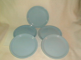 "Mid century homer laughlin skytone 9"" plates 5 pcs VG 1950's luncheon Blue - $40.00"