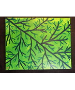 Original Handmade 11x14 Acrylic Nature Painting Green Tree limbs on Canv... - $98.99