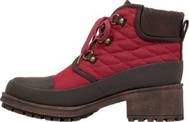 Women's Shoes Lucky Brand AKONN Quilted Booties Combat Boots Ruby Wine Red - $79.99