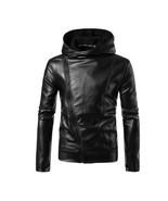 2018 Punk Style Fashion Black Leather Jacket Hoodie Zipper Type Men Casu... - $121.32