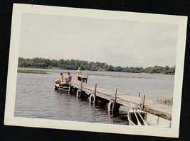 Old Vintage Photograph People at End of Dock by Water Fishing - Scenic View - $6.93