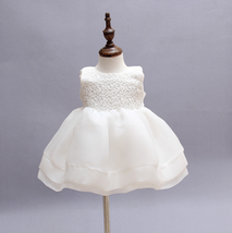 Cream White Ivory Flower Baby Girl Wedding Pageant Lace Dress With Hat 6M - $29.99
