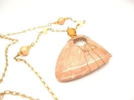 Vintage Wire wrapped Big Polished Stone Long funky Boho Statement Necklace  - $12.84