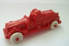 Vintage Hard Plastic Fire Truck  50's Dime Store Red w/White Wheels - $7.99