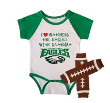 Philadelphia  Eagles Onesie And Leggings Outfit Set Love Watching With Grandma - $24.95