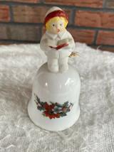 Porcelain Bell 1988 Christmas Dinner Holly Caroler Chime Ring Holiday Co... - $9.80