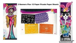 Day of Dead Catrina Halloween Skeleton Decoration Banner Papel Picado 14 PC COCO - $25.69