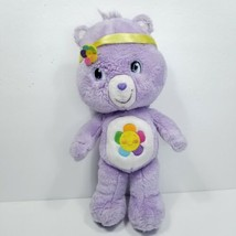 Harmony Bear Care Bear Plush Stuffed Animal Rainbow Flower Headband Purp... - $15.83