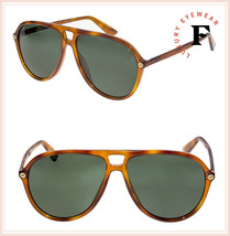 GUCCI Aviator Oversized GG0119S Blonde Havana Green Unisex Sunglasses 0119 - $264.33