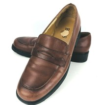 Bass Cami Brown Leather Size 8 M Penny Loafer Shoe Rubber Sole - $49.49