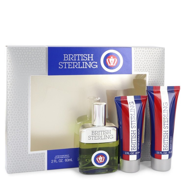 Primary image for British Sterling Gift Set -- 2.5 oz Cologne Spray + 2.5 oz Body Wash + 2 oz Afte